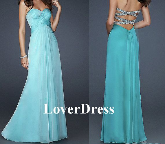 Open Back Prom Dress Sexy Prom Dress Sea Blue Prom by LoverDress, $135.00
