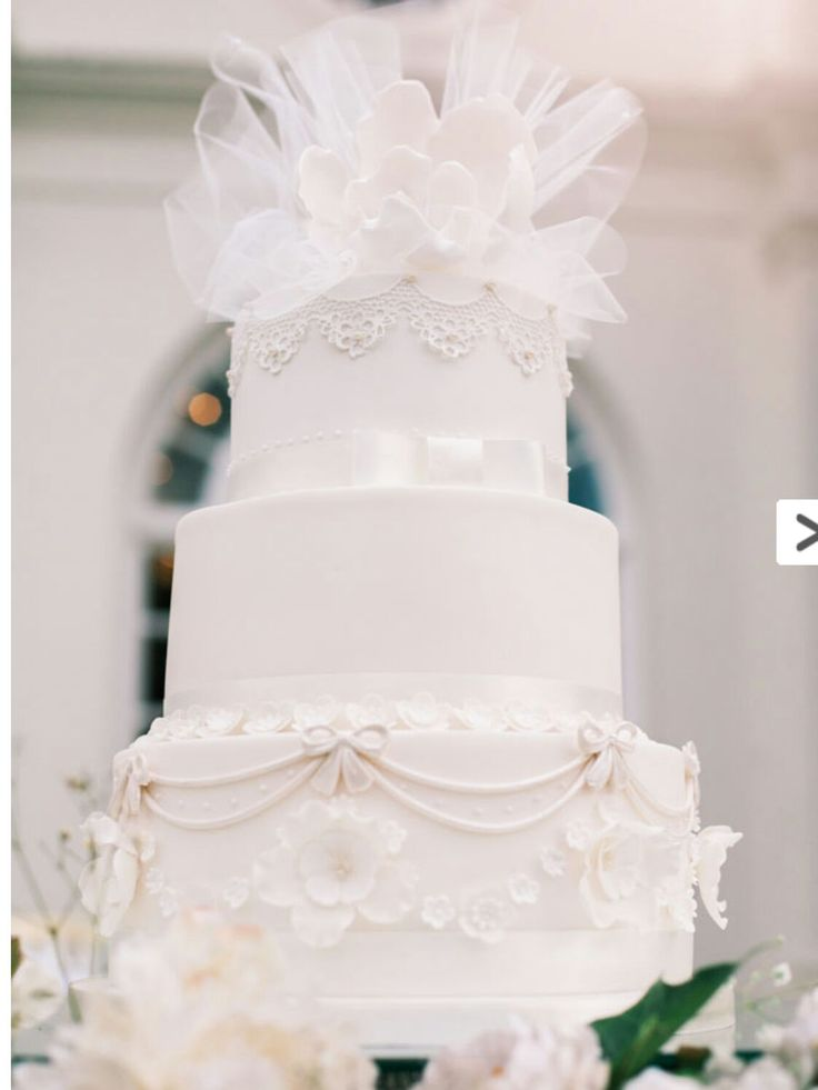 All white Wedding Cake with Lace