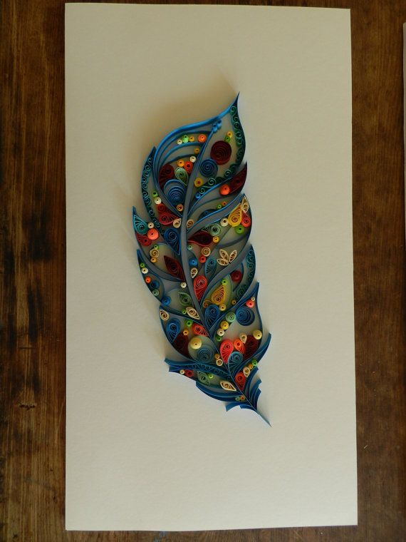 blue feather, paper quill