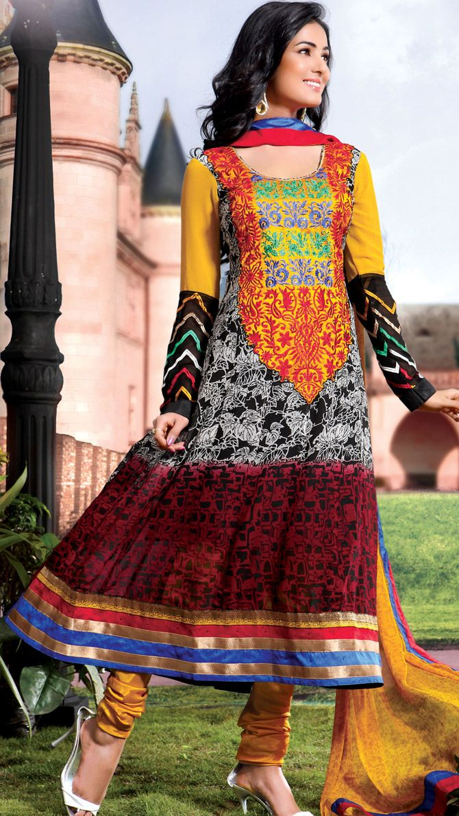 #SonalChauhan in Multicolor Churidar #Anarkali #Suit | @ $73.73