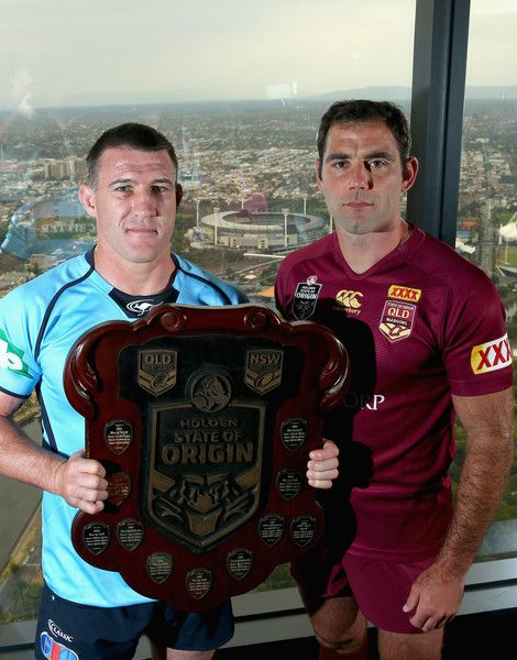 Paul Gallen Photos Photos - NSW Captain Paul Gallen and Queensland Captain Cameron Smith pose with the State of Origin Shield during the 2015 State of Origin Series Launch at Eureka Tower on March 17, 2015 in Melbourne, Australia. - State of Origin Series Launch
