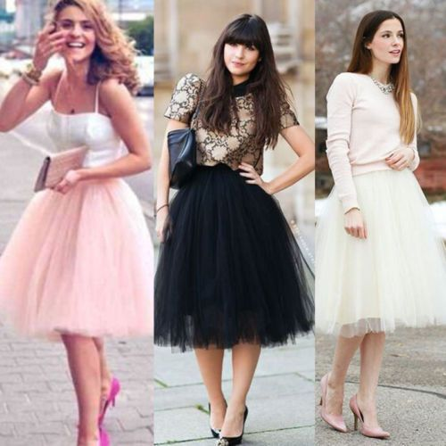 Womens Girls Princess Ballet Tulle Tutu Skirt Wedding Prom Evening Mini Dress