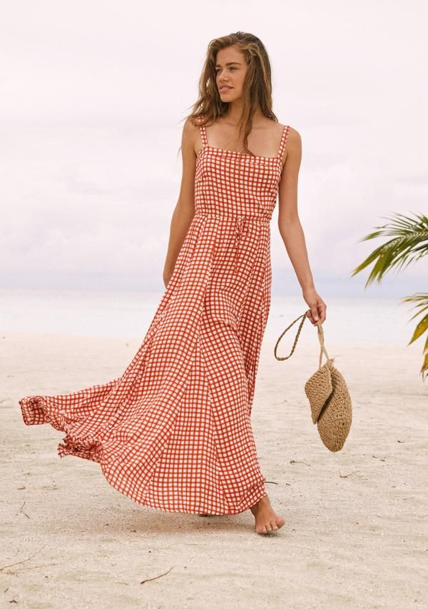 37960258874 Gingham Panelled Maxi Dress Rust