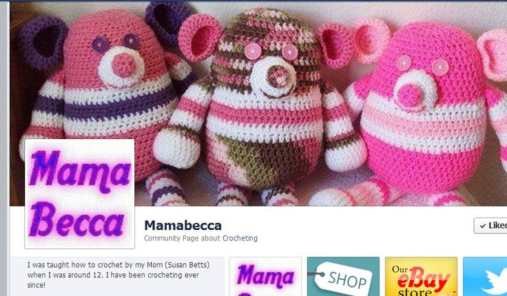 MamaBecca I was taught how to crochet by my Mom (Susan Betts) when I was around 12. I have been crocheting ever since!