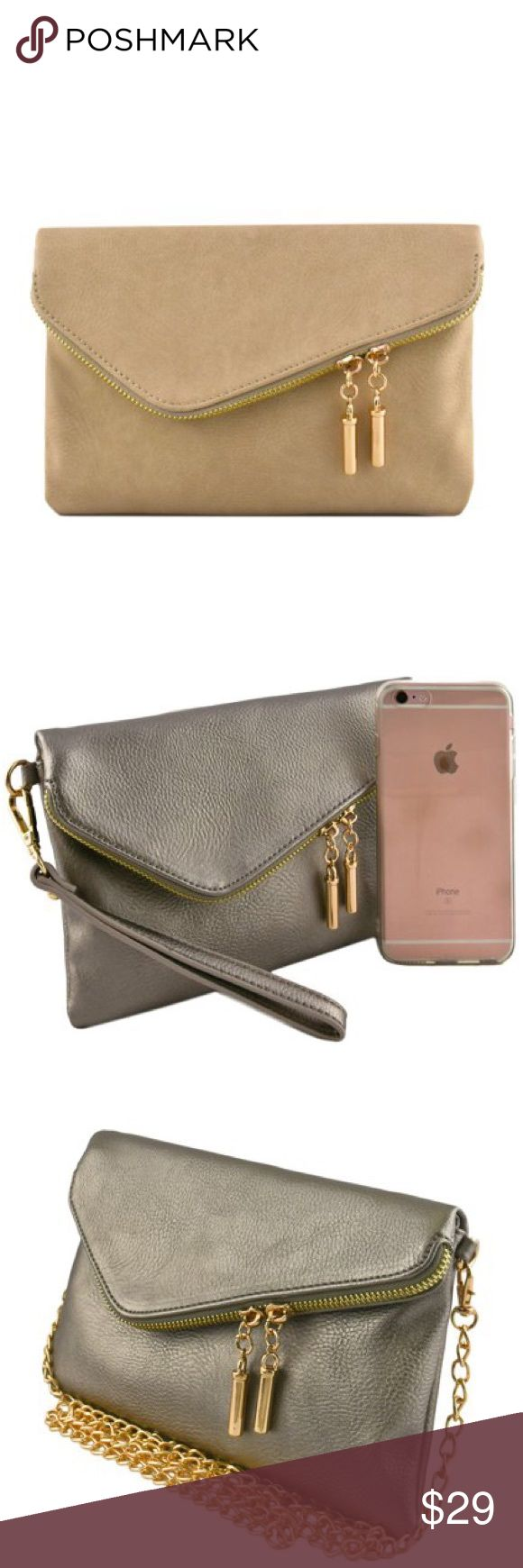 """Coming soon! Beige clutch. Beige color (first pic) envelope clutch with zipper and magnetic flap. Textured faux leather, fully lined, cardholder inside, and zipped pocket inside. Detachable 7"""" wrist strap and 46"""" chain. 9""""w x 6""""h folded. 9""""w x 10""""h unfolded. One picture shows an iPhone 6s Plus for your reference. Perfect little beige clutch! Bags Clutches & Wristlets"""