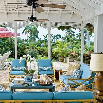 "Fabulous, retro-chic pool umbrella by Santa Barbara Designs. Meg Braff shares her ""10 Island Style Essentials"" - Coastal Living."