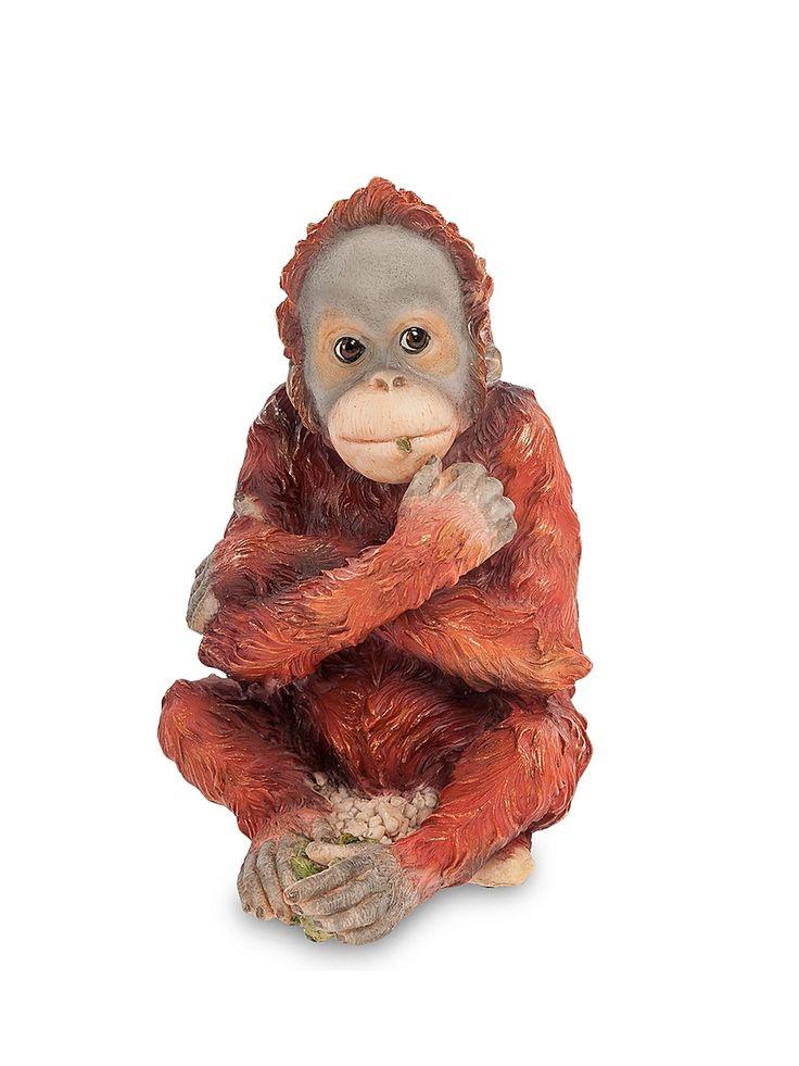 """Статуэтка """"Детеныш орангутанга"""" Veronese. Цвет коричневый, красный."""