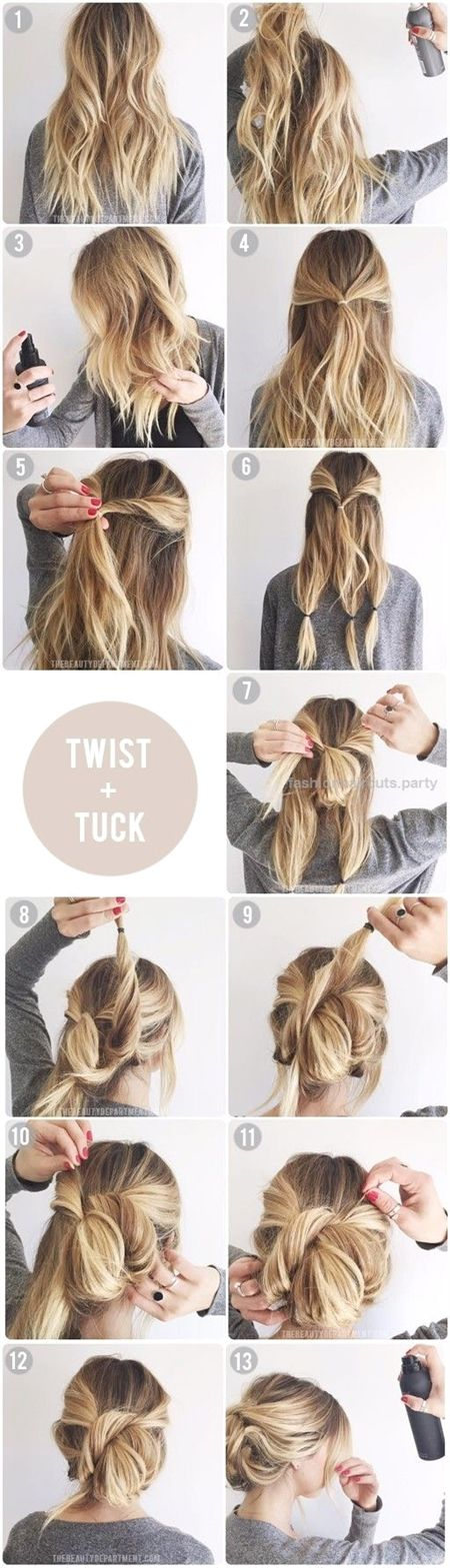 5 Gorgeous Messy Updos For Long Hair | Makeup Tutorials  Twist & Tuck Messy Updo | 5 Messy Updos for Long Hair, check it out at makeuptutorials.c…  …