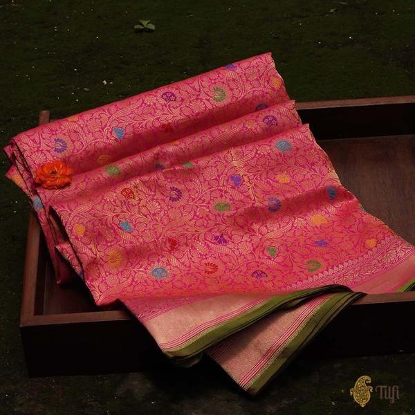 Rani Pink Pure Katan Silk Banarasi Handloom Saree in 2019