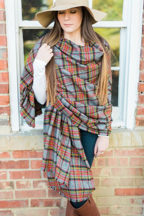 Oversized Flannel Blanket Scarf Infinity by astylishdesign on Etsy