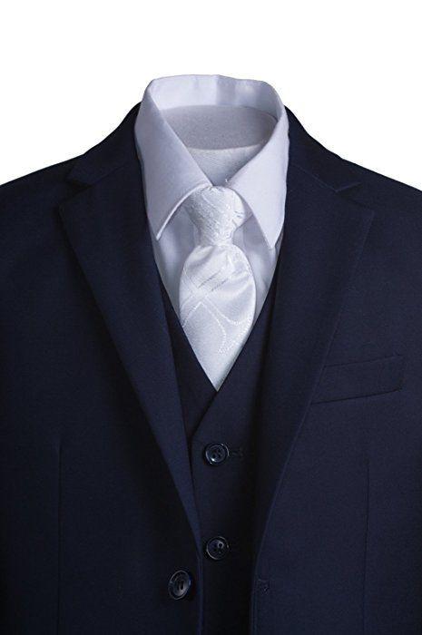 f58c3c3e5 Amazon.com  Boys Navy Blue Slim Fit Communion Suit with Vest   White ...