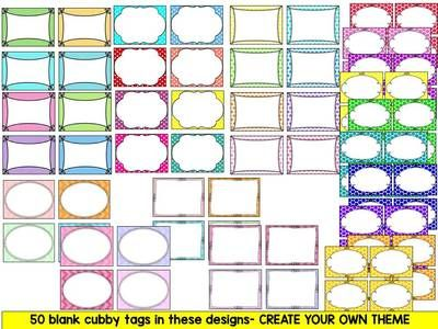 EDITABLE CUBBY TAGS- CUBBY LABELS, 12 THEMES AND 50 BLANK LABELS from KinderPrep on TeachersNotebook.com (42 pages)