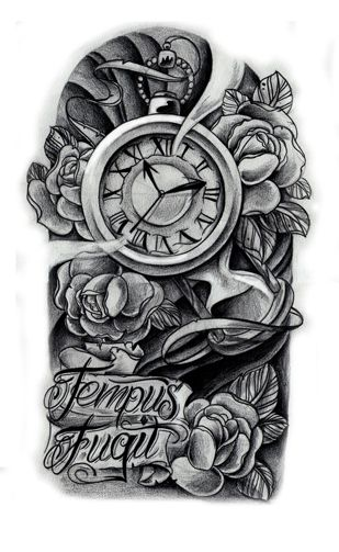 clock tattoo..i want something like this with the time being on 11:11 and in memory banner for my Mom... And maybe add in some hummingbirds.