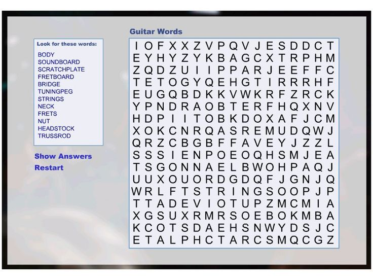 parts of guitar word search i like to do themed lunches today 39 s will be a guitar themed for my. Black Bedroom Furniture Sets. Home Design Ideas