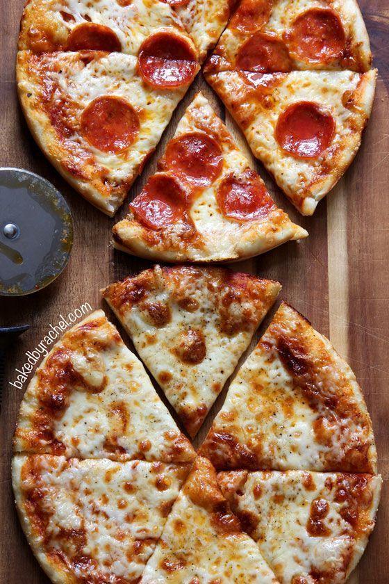 Three cheese pan pizza recipe from /bakedbyrachel/
