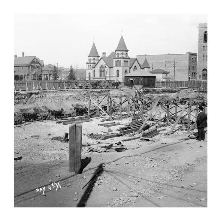 May 4, 1911 - Excavation for Hudson's Bay Company store in Calgary (pinned by redwoodclassics.net)