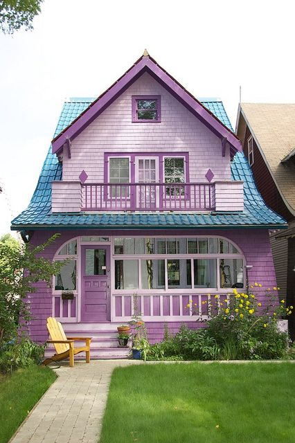Purple house with turquoise roof by gbrands, via Flickr. This house is in the Cathedral District of Regina, Saskatchewan, Canada