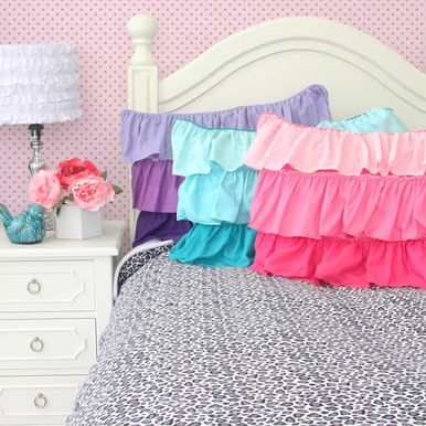Love these bold and beautiful colors! #SocialCircus: Kids Beds, Pink Ruffles, Aqua And Purple Girls Rooms, Girls Beds, Baby Beds, Caden Lane, Silver Leopards, Big Girls, Leopards Beds