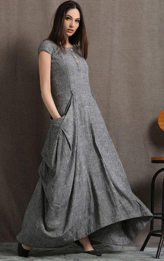 Gray Linen Dress Long Maxi Boho Style Short Sleeved by YL1dress