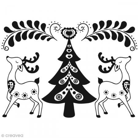 Sello Navidad Renos y Abeto - 7,2 x 6 cm - Fotografía n°1