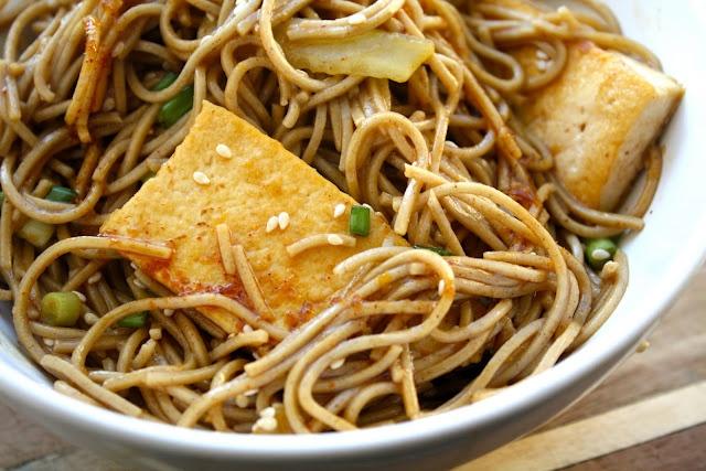 Cold soba noodle salad with ginger-sesame dressing.   Nosh & bevvies ...