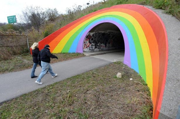 """""""Don Valley Parkway rainbow by """"Caretaker of Dreams"""" symbol of hope and love that has enchanted children and adults for decades, and even inspired a famous painting by Scottish artist Peter Doig"""""""