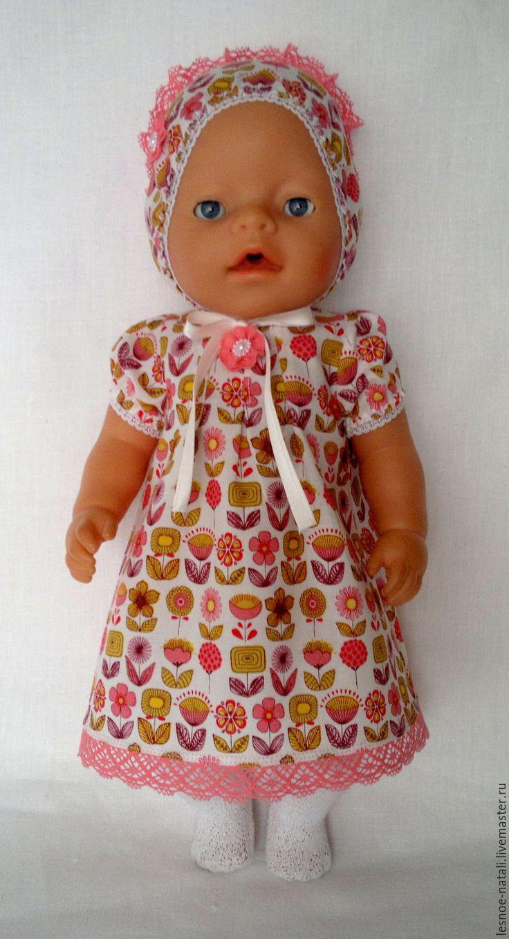 Купить Платье и шапочка для куклы - коралловый, платье для куклы, платье для беби бон