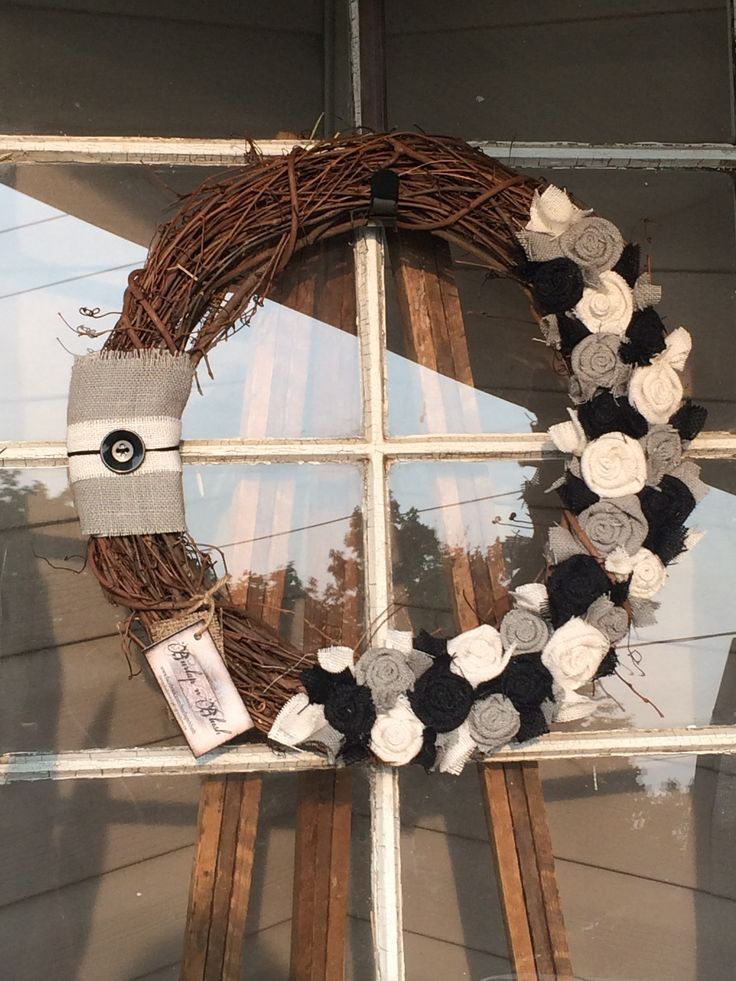 """18"""" grapevine wreath with grey, black and cream rosettes #grapevine #buttons #wreath"""