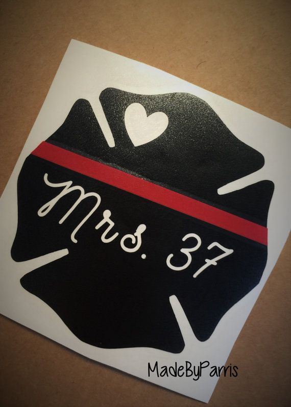 ♥ Firefighter Wife with Badge Number Vinyl Decal! ♥  ****HOW TO ORDER!****  ♥ - Choose a SIZE from the drop down menu! (Sizing is based off of