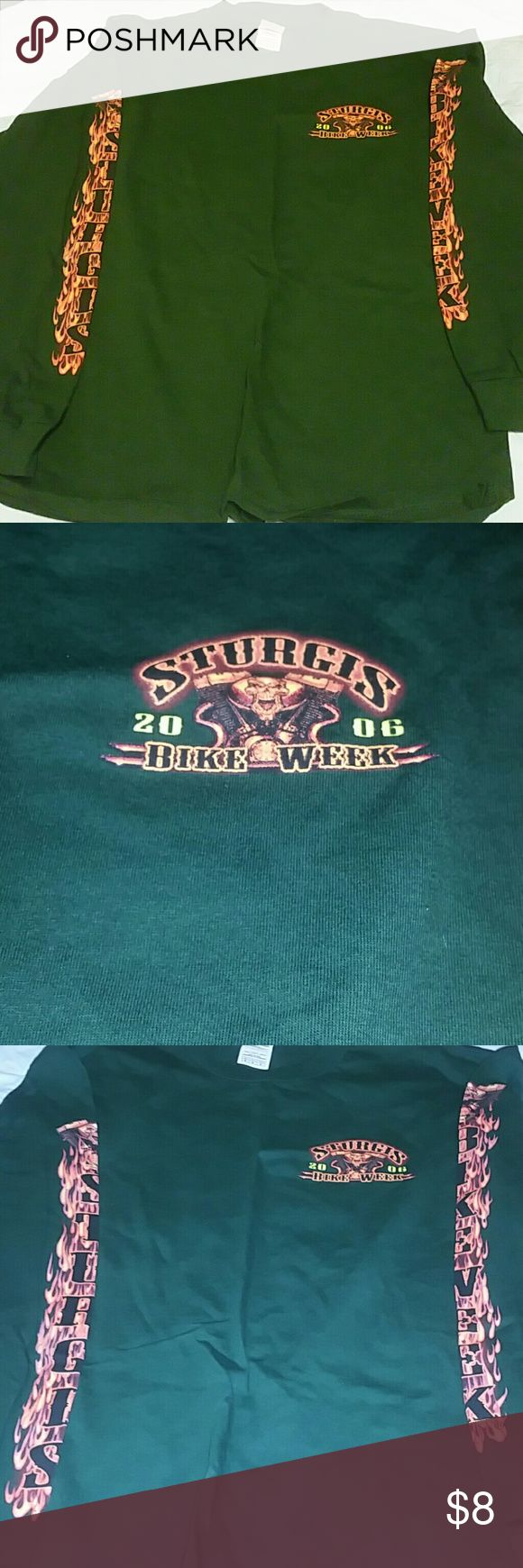 Men's Sturgis Long Sleeved T-shirt Men's medium 2006 Sturgis Bike Week long sleeved tshirt with logo & flame detail down both sleeves. Euc. Dark army green. Delta Shirts Tees - Long Sleeve