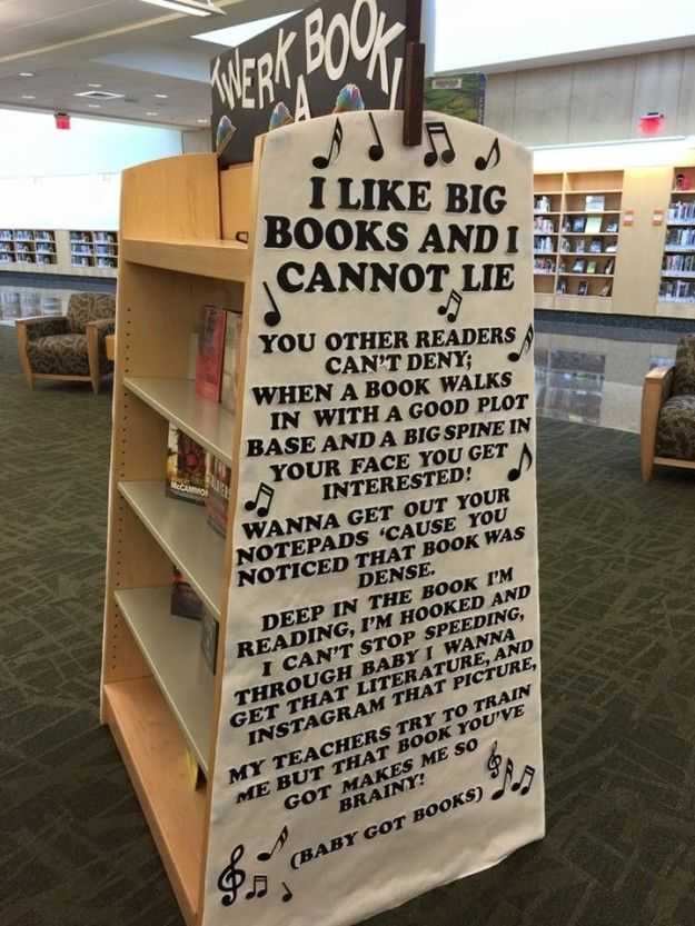 """Librarian Brittney Ash enjoys making library users smile, and her latest display at Virginia Beach public library has now gone viral.   People Can't Stop Laughing At This Library's """"Baby Got Books"""" Display"""
