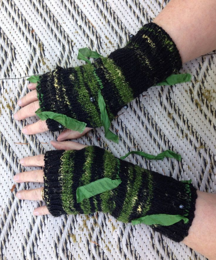 Loki themed, hand spun and hand knitted, medium size 8 inch long fingerless gloves, wrist warmers, Cosplay, The Avengers by WoolnLove on Etsy