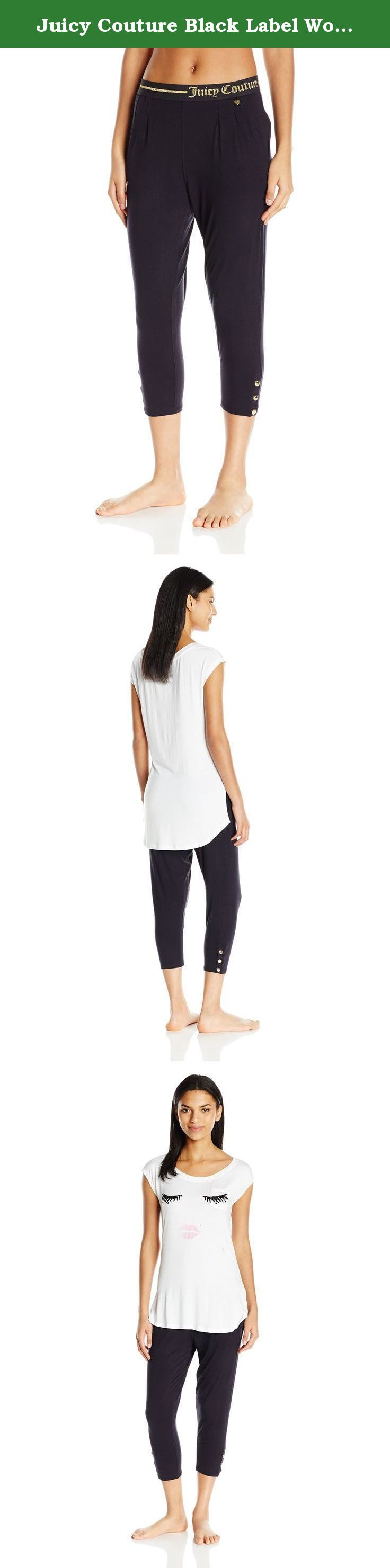 Juicy Couture Black Label Women's Eyelash Jersey Tee and Lurex Logo Easy Fit Slim Pant, Bright White/Pitch Black, Small. Lounge in style in this super soft tee and slim pant set from juicy couture. Super fun eyelash print top is perfect for the juicy girl.