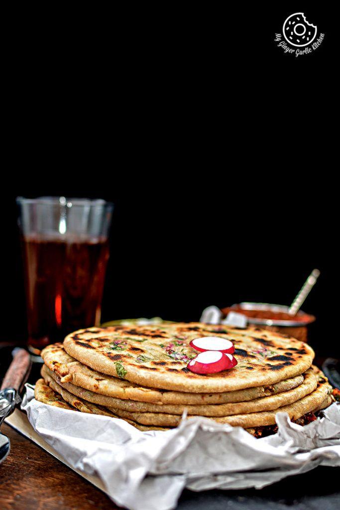 Mooli Paratha With Strawberry Grapes Chutney | mygingergarlickitchen.com/ @anupama_dreams