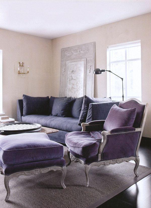♥: Decor, Velvet Chairs, Living Rooms, Shades Of Purple, Pasta Recipes, Colors, Interiors Design, Purple Furniture, Desks Layout