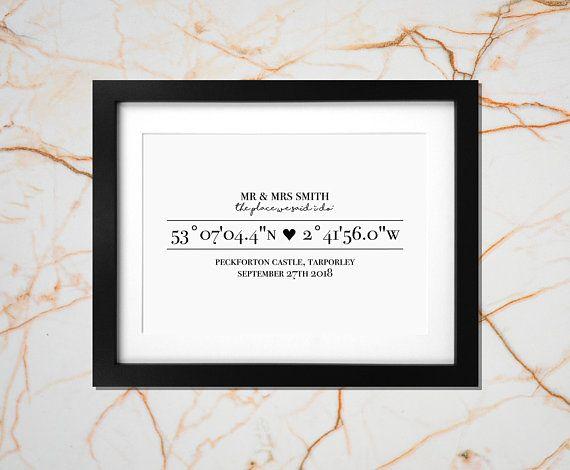 Your Wedding Location Coordinates Print Personalised Wedding