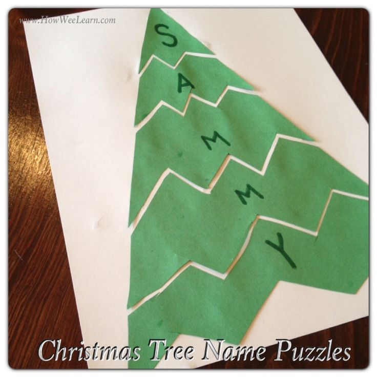 These Christmas Tree Name Puzzles are perfect for Preschoolers and Kindergartners. Turn them into Sight word Puzzles for big kids! What fun Preschool Christmas Projects!