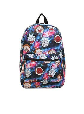 """<div>It's nice to have something to carry a spare toothbrush or a change of undies while you're jumping dimensions. This backpack from <i>Rick And Morty</i> is perfect! The galaxy print backpack features an allover print of Rick and Morty's faces, a padded back and straps and a front zipper pocket. Zipper closure.</div><div><ul><li style=""""list-style-position: inside !important; list-style-type: disc !important"""">Polyester</li><li style=""""list-style-position: inside !important; list-style-..."""