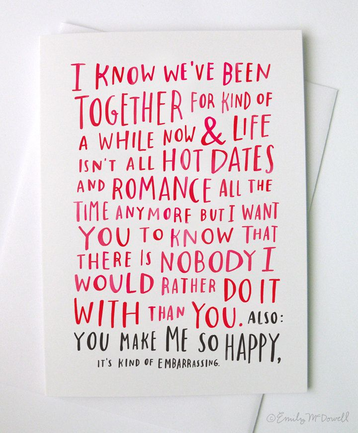 A Love Card For When You've Been Together For A While. $4.00, via Etsy.