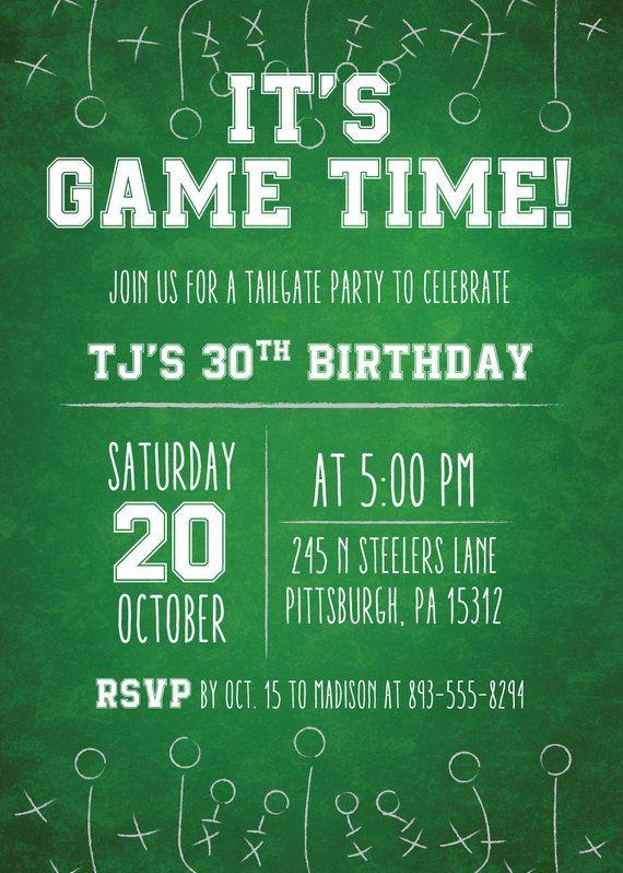 Chalkboard Football Party Invitation Football Game Invitation