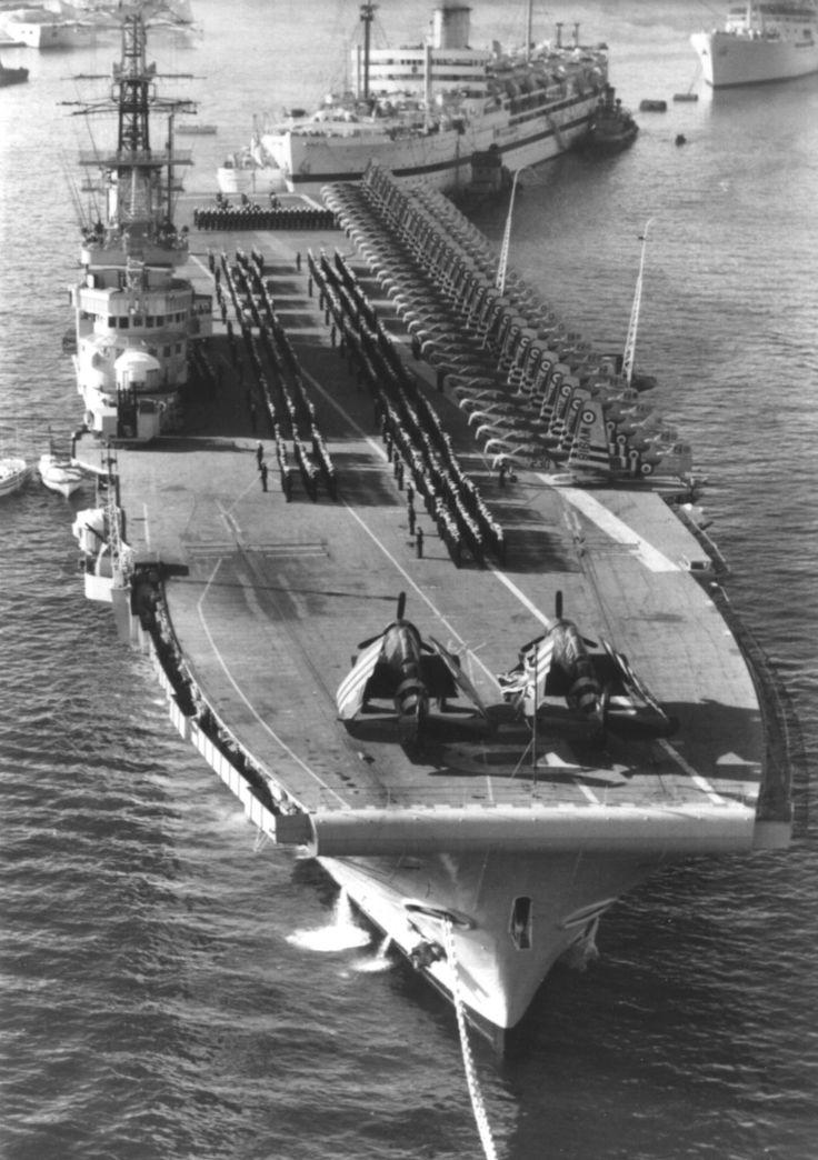 HMS Bulwark R-08 seen at Malta in December 1956.