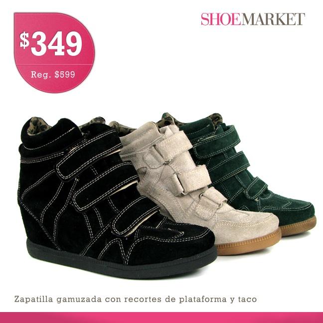 Muy lindas zapatillas con plataforma y taco. Con jeans, tu cartera y un sweater de invierno, nada mejor que pasear y hacer compras los fines de semana con estos cómodos y y modernos sneakers!. https://www.facebook.com/shoemarket.ar