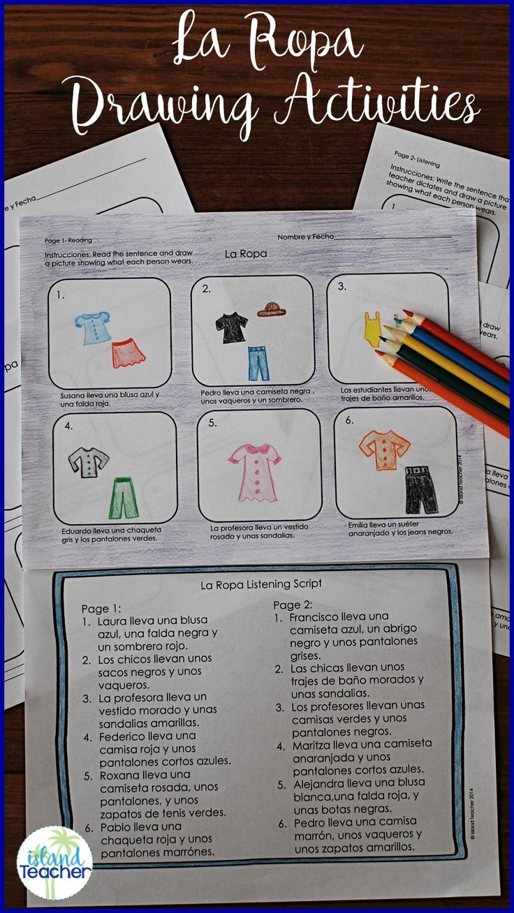 Teach la ropa vocabulary with Spanish clothing drawing activities. Includes suggestions for listening, reading, writing and speaking.