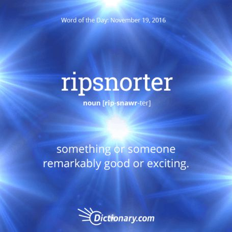 ripsnorter- [rip-snawr-ter] (noun) = something or someone remarkably good or exciting.