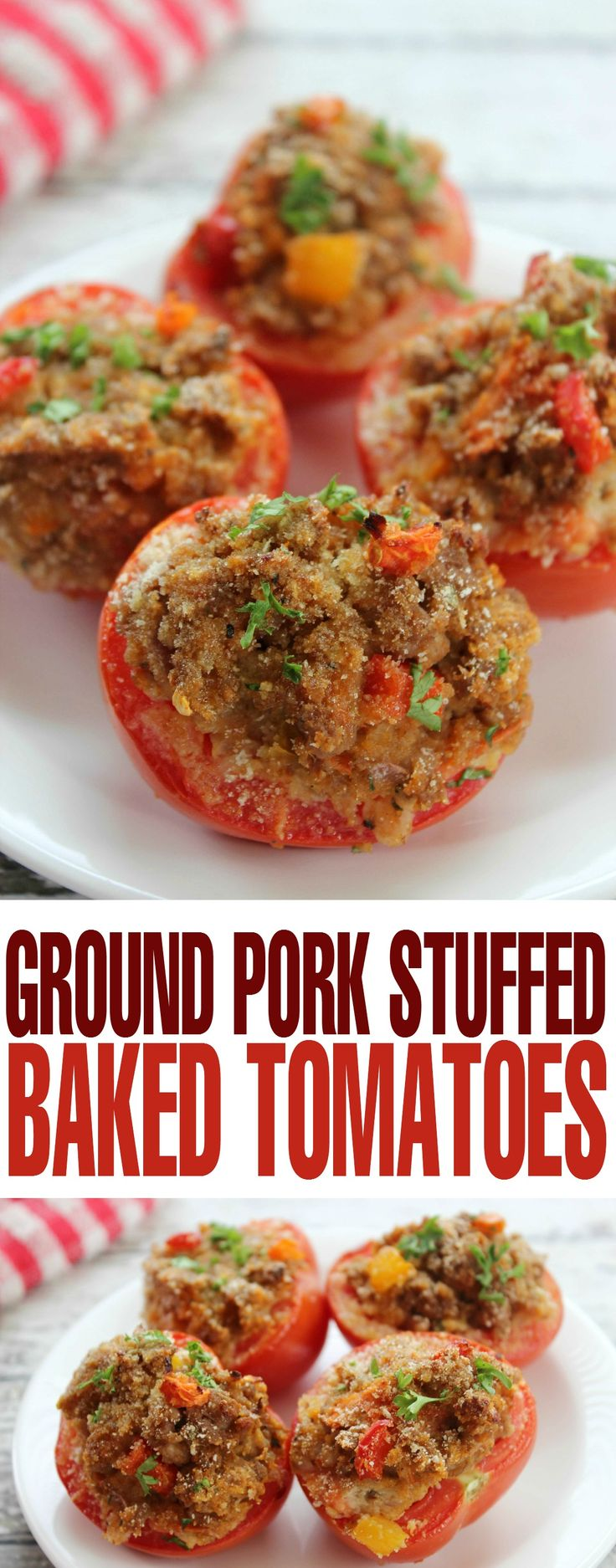 This Ground Pork Stuffed Baked Tomatoes recipe is a healthy meal option to serve your family for dinner.