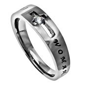 "Amazing Grace Women's Freedom Ring   	                       Petite high-polished stainless steel Christian ring with chain center that spins.  Width is 5mm.     	                       Band reads: ""My Chains Are Gone, I've Been Set Free - Amazing Grace"""