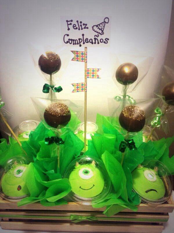 #cupcake #mike #green #party #birthday #popcake #chocolate #fiesta #cumpleaños #monstersinc
