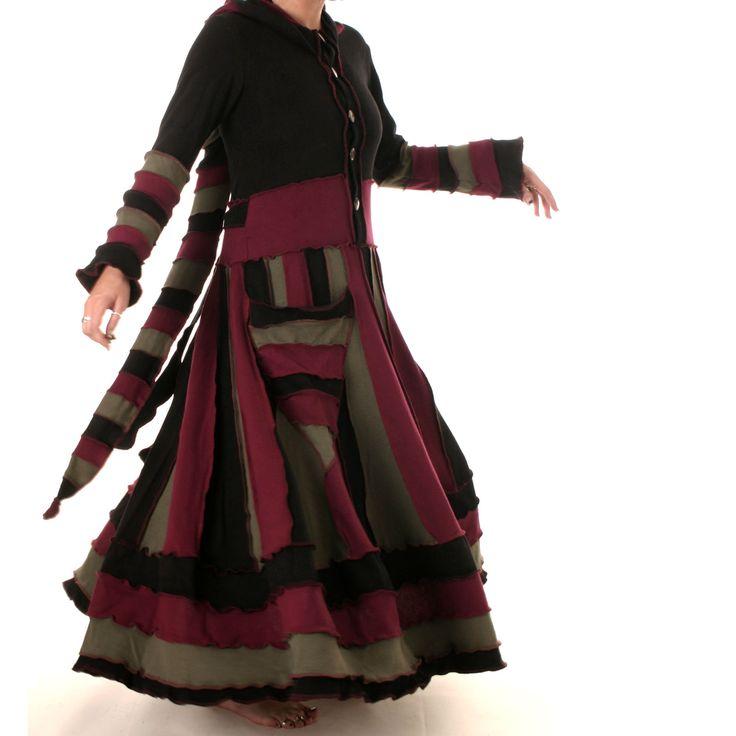 Goa Larp Strickmantel Kleid warm Zipfelkapuze Zigeuner Gipsy Elfen Mantel Ethno | eBay