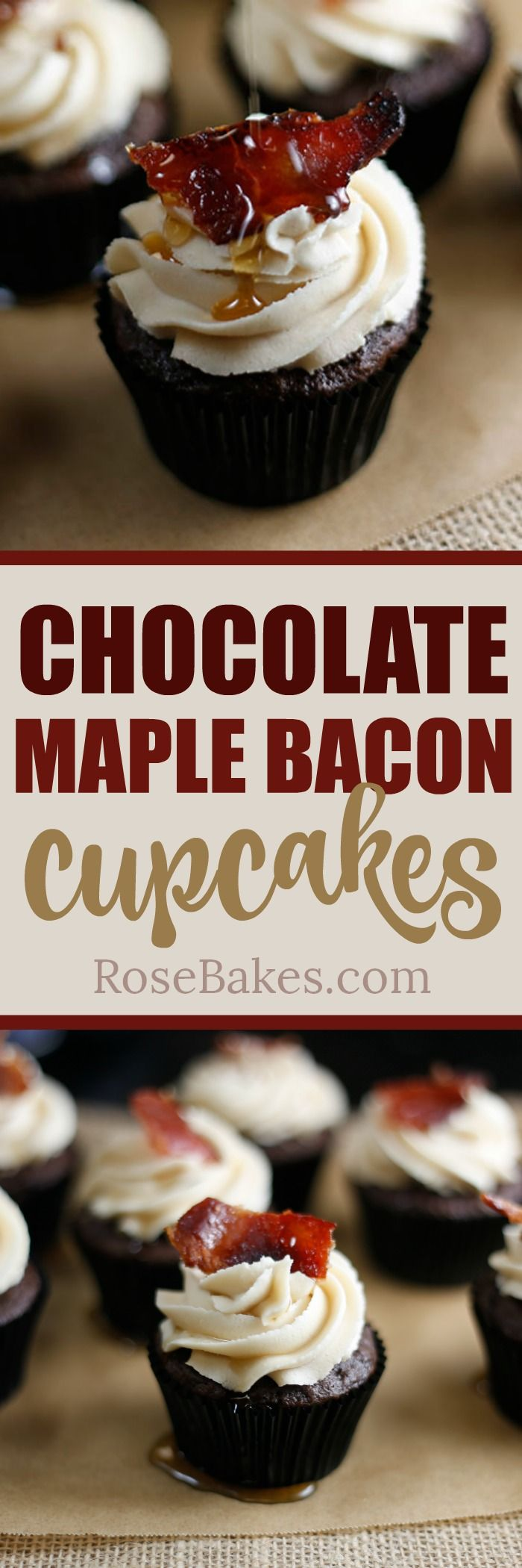 Chocolate Maple Bacon Cupcakes. Rich chocolate cupcakestopped with Maple Brown Sugar Buttercream , then a piece of candied bacon and drizzled with pure maple syrup. The perfect combo of salty and sweet - creamy and crunchy.