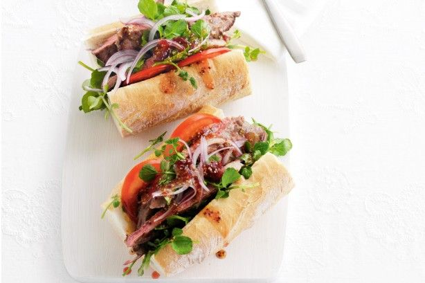 Everyone will love these quick and easy steak rolls with sweet and spicy dressing.